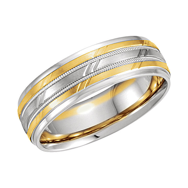 14k White/Yellow Gold 7mm Design Wedding Band