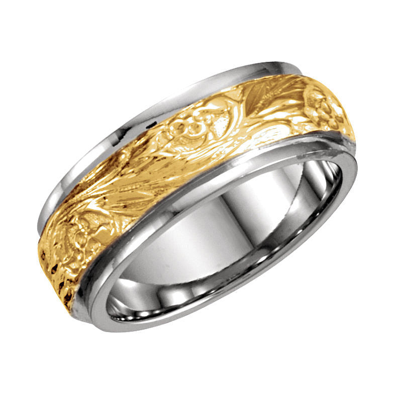 14k White/Yellow Gold 7mm Hand-Engraved Wedding Band
