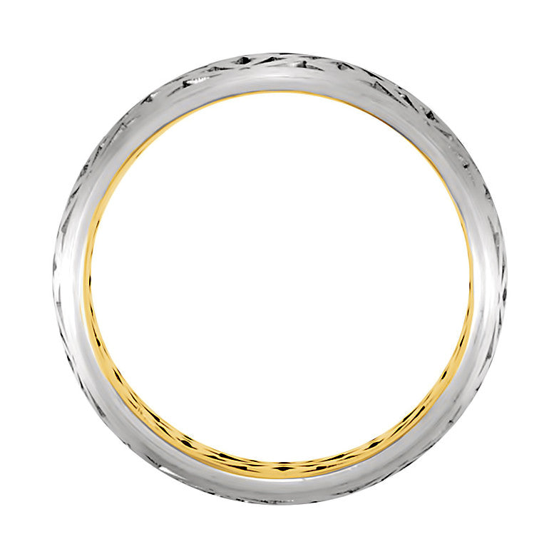 14k White & Yellow Gold 8mm Laser Pierced Wedding Band