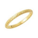 14k Yellow Gold 2mm Hand-Engraved Wedding Band