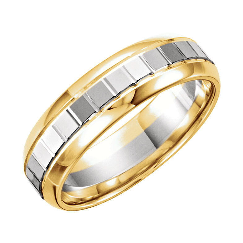 14k Yellow/White Gold 6mm Design Wedding Band