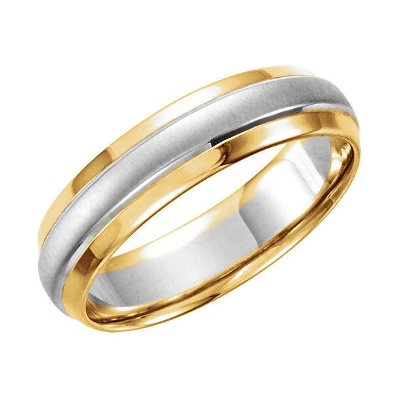 14k Yellow/White Gold 6mm Step-Edge Wedding Band