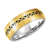 14k Yellow/White Gold 7mm Laser Pierced Comfort Fit Wedding Band