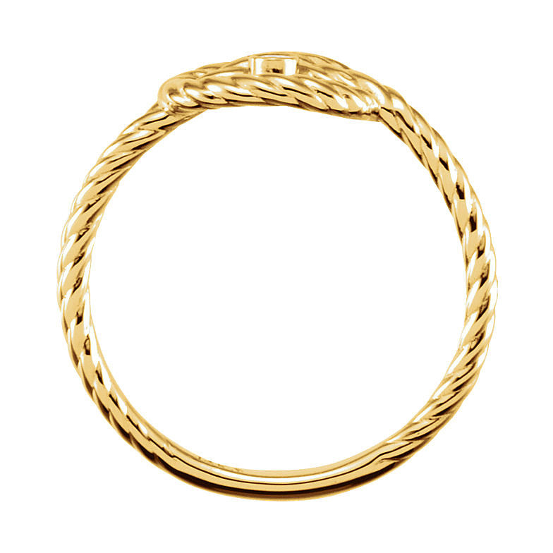 14k Gold 0.025 CT Diamond Rope Knot Ring