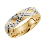 14k Two-Tone Yellow/White Gold 6mm Patterned Band