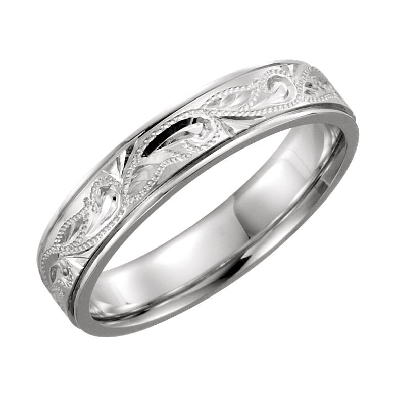 14kt White Gold 5mm Hand-Engraved Wedding Band