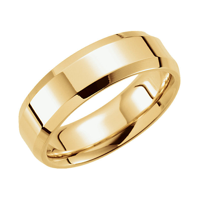 6mm Comfort-Fit Beveled Edge Gold Wedding Band