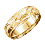7mm Comfort Fit Design Gold Band