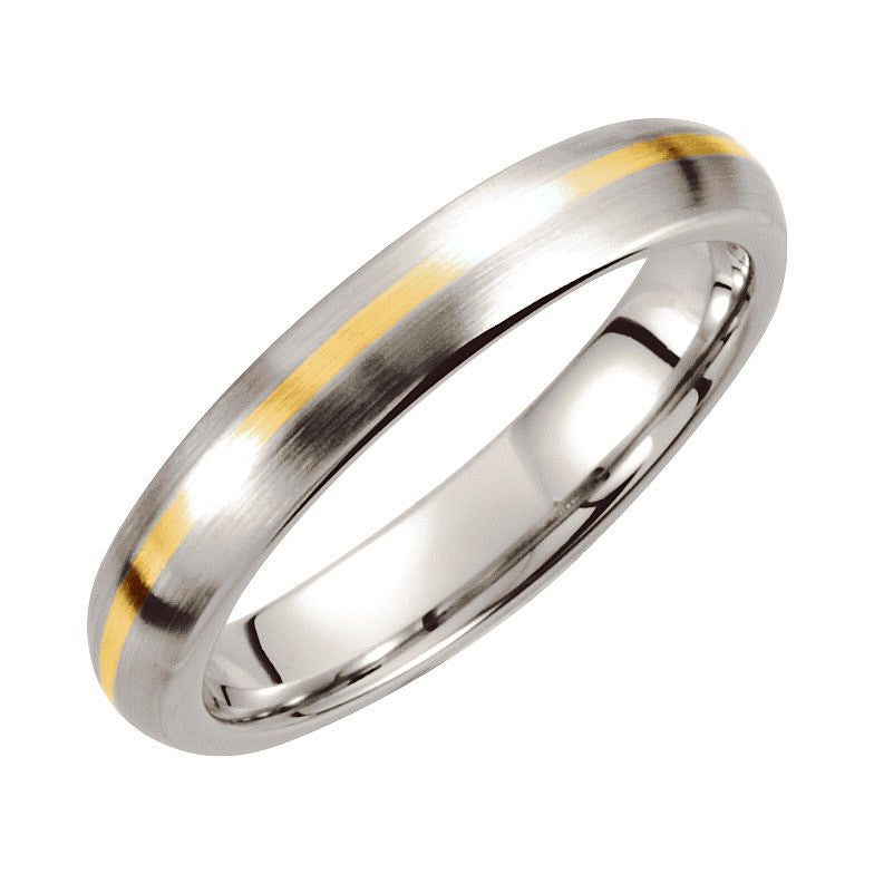 Cobalt & 14k Yellow Gold 4mm Domed Wedding Band