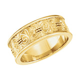 Gold 7.5mm Design Wedding Band