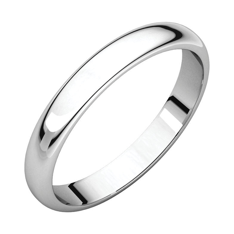 Half Round Light Wedding Bands