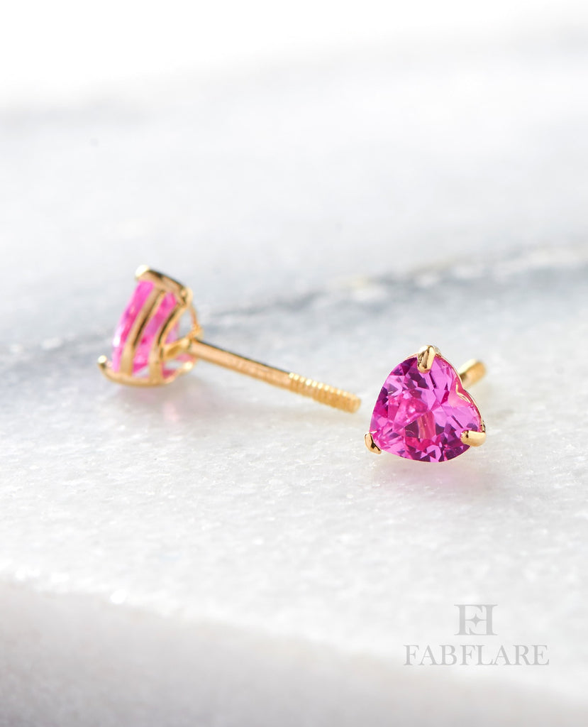 14k Solid Gold 1/2ct t.w Pink Cubic Zirconia 4x4mm Heart Shape Stud Earrings
