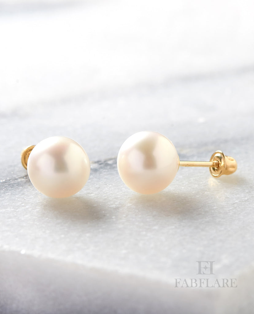 Genuine Freshwater Cultured 5mm Pearl Stud Earrings in 14k Gold