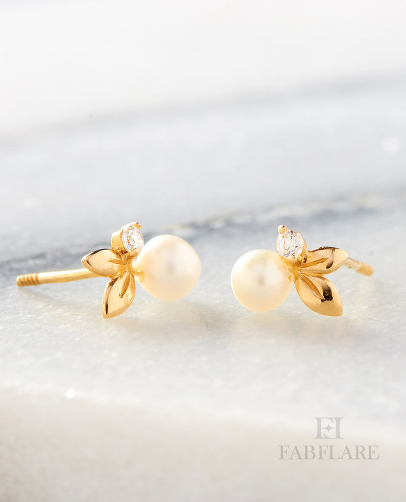 14K White Double Leaf Earrings