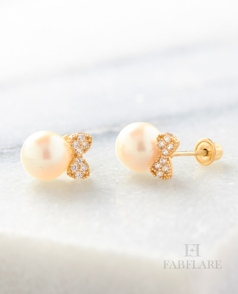 White Freshwater Cultured 6mm Pearl Cubic Zirconia Stud Bow Design Earrings in 14k Yellow Gold