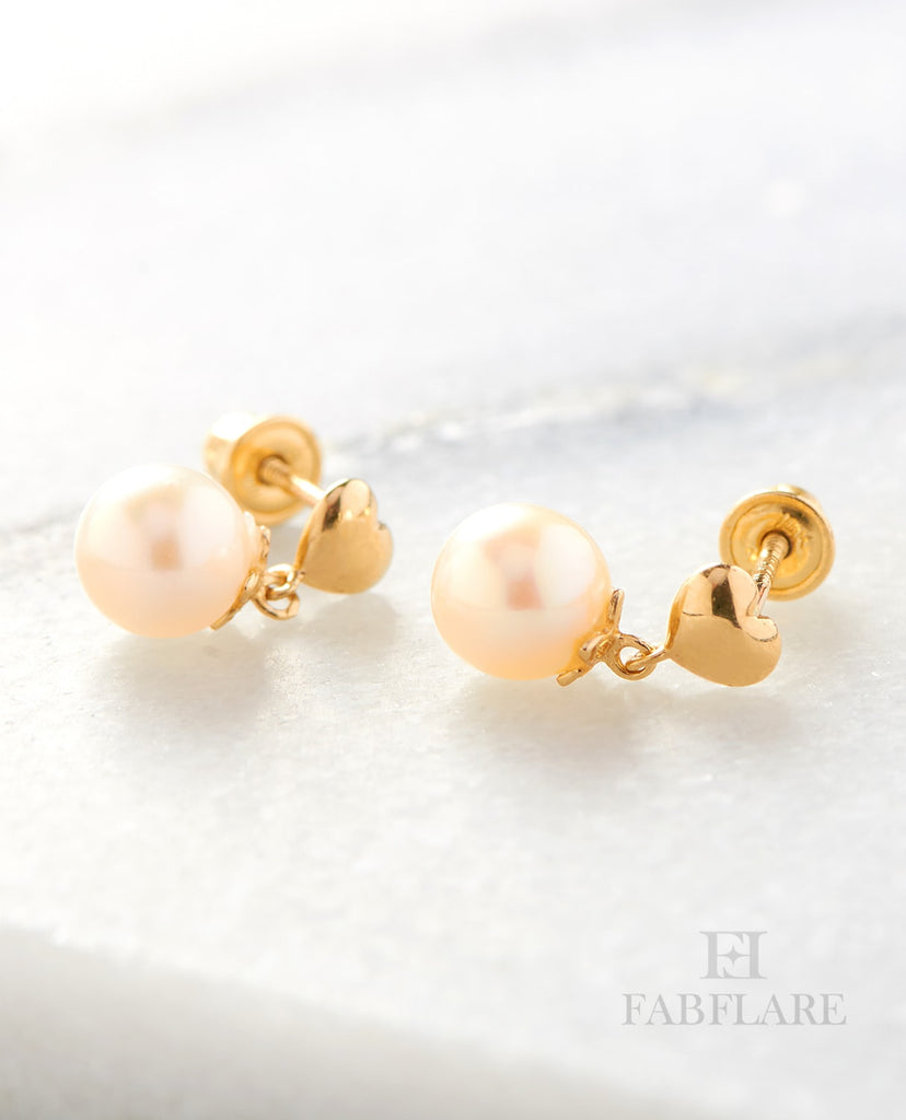 Hanging White Freshwater Cultured 5mm Genuine Pearl Heart Design Stud Earrings in 14k Gold