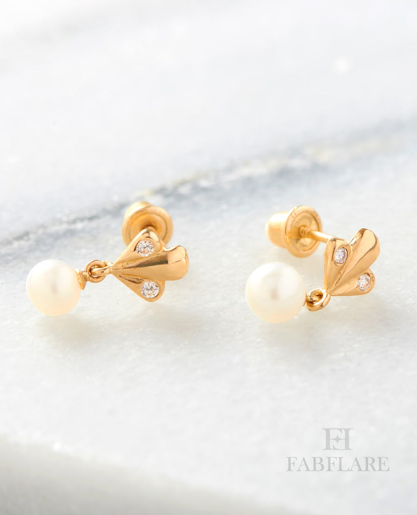 pearls image pearl ladies stud flower freshwater gem earrings gold set yellow jewellery cultured