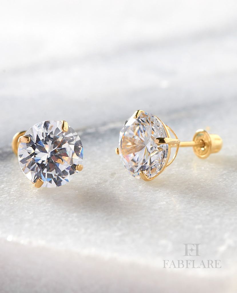 14k Solid Gold 0.50ct t.w Cubic Zirconia 5mm Round Stud Earrings