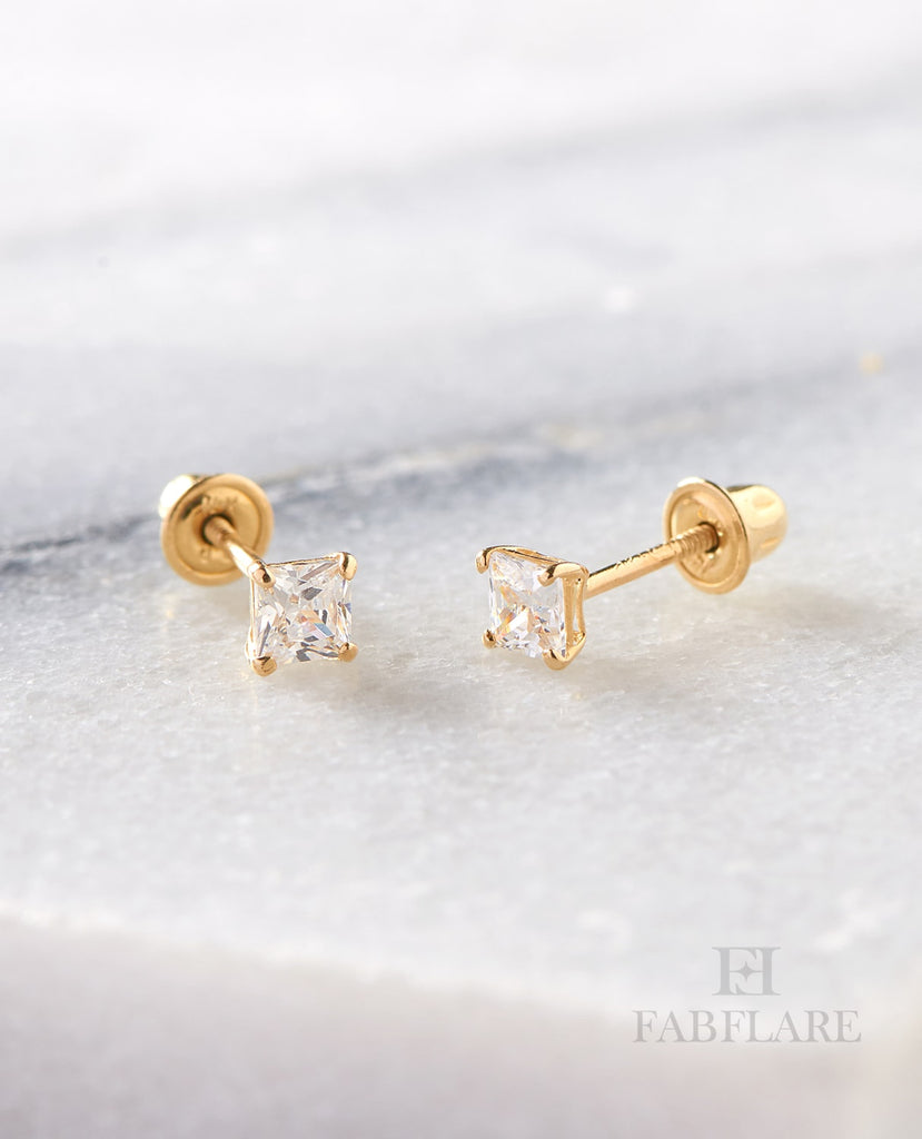 5393aa356 14k Solid Gold 0.70ct t.w Cubic Zirconia 5mm Princess Cut Stud Earring –  FabFlare Jewelry