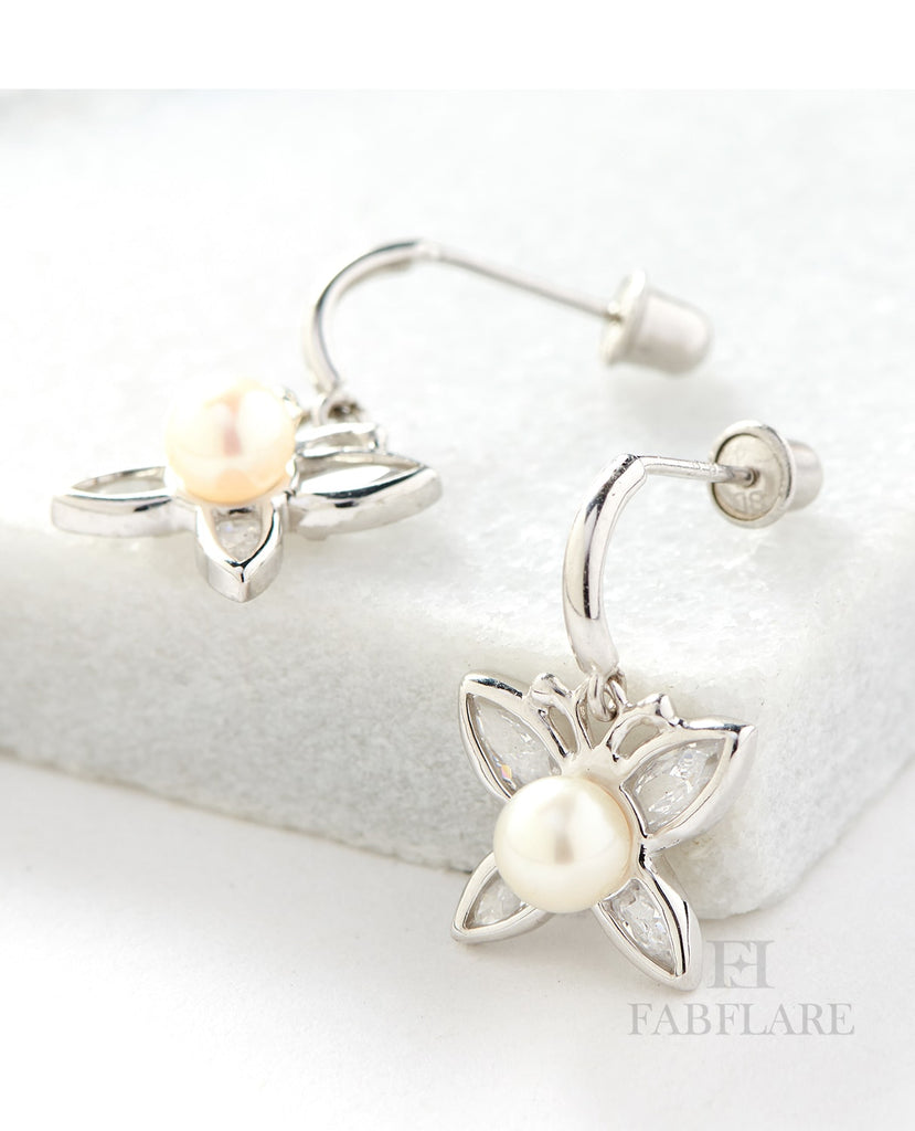 Hanging White Freshwater Cultured 4mm Genuine Pearl Cubic Zirconia Butterfly Chandelier Design Stud Earrings in 14k Gold
