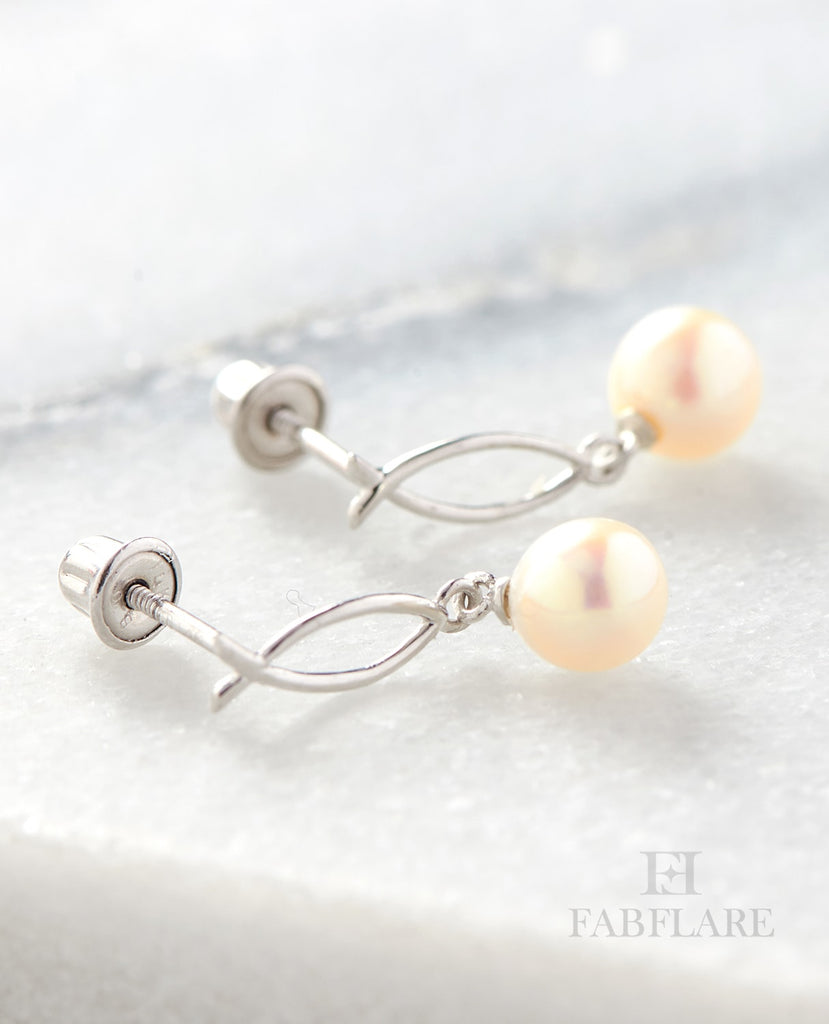 Hanging White Freshwater Cultured 6mm Genuine Pearl Fish Design Stud Earrings in 14k Gold