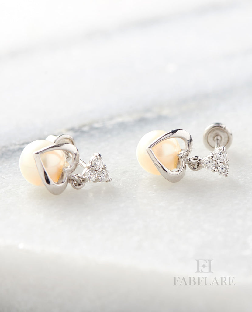 Hanging White Freshwater Cultured 5mm Genuine Pearl Cubic Zirconia Heart Shape Design Stud Earrings in 14k Gold