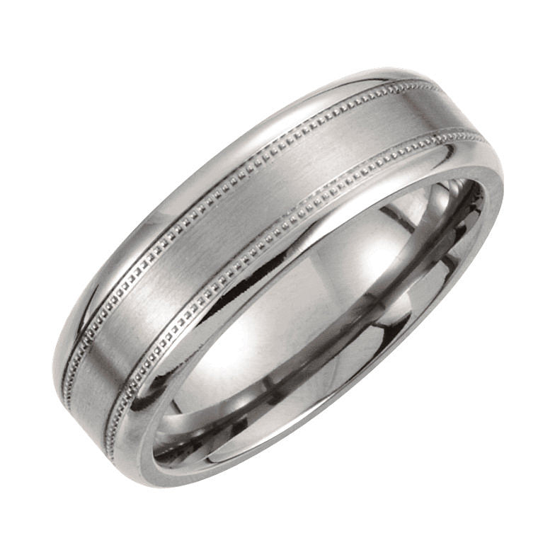 Titanium 7mm Satin Finish Center & Polished Milgrain Wedding Band