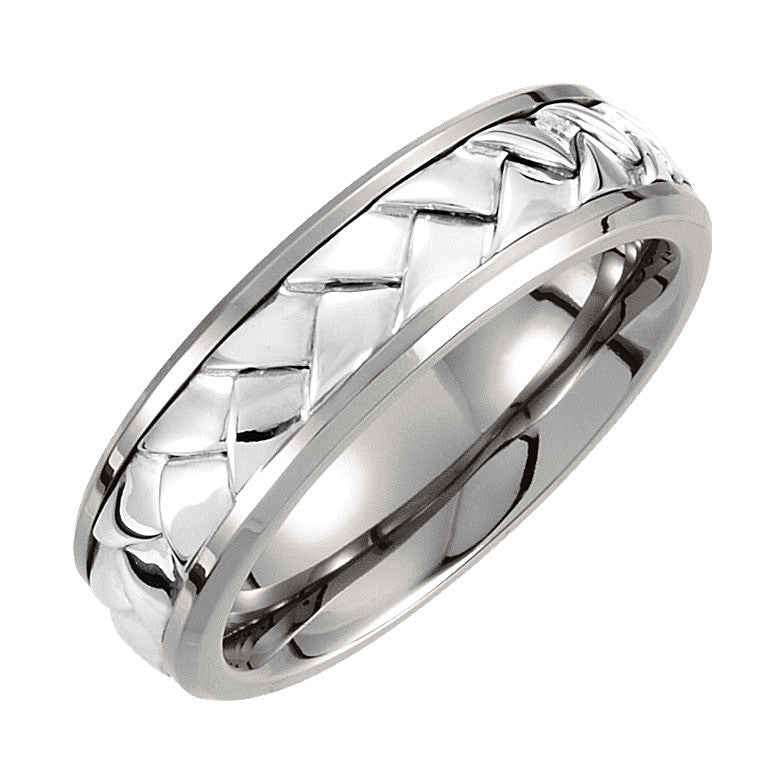 Titanium & Sterling Silver Inlay 7mm Woven Wedding Band