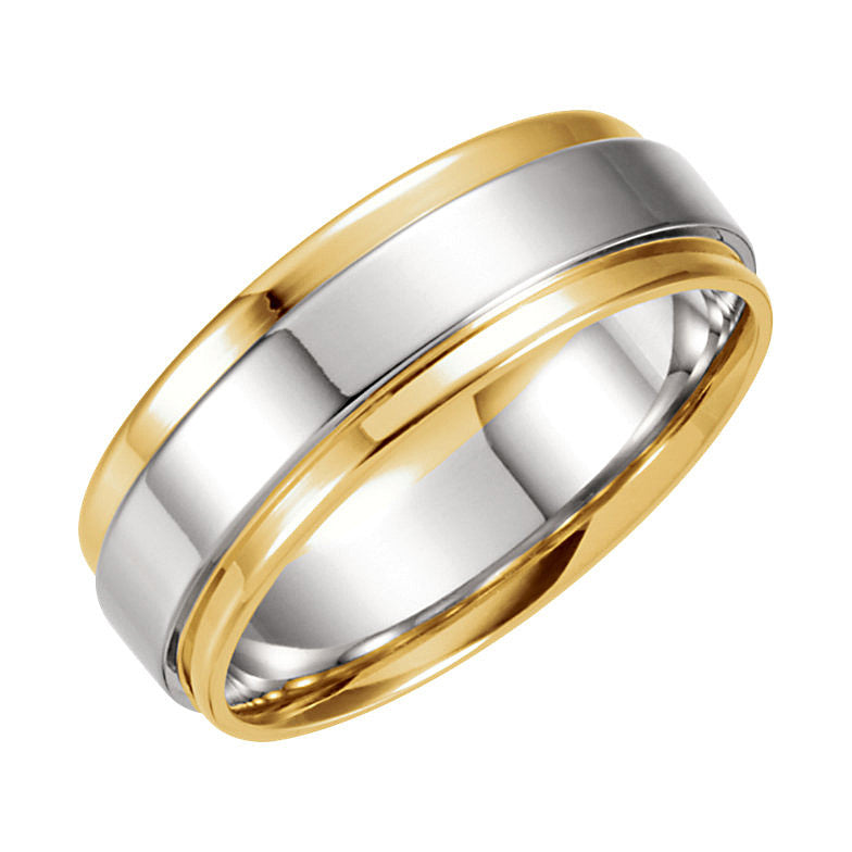 Two-Tone Gold 7.5mm Grooved Flat Edge Wedding Band