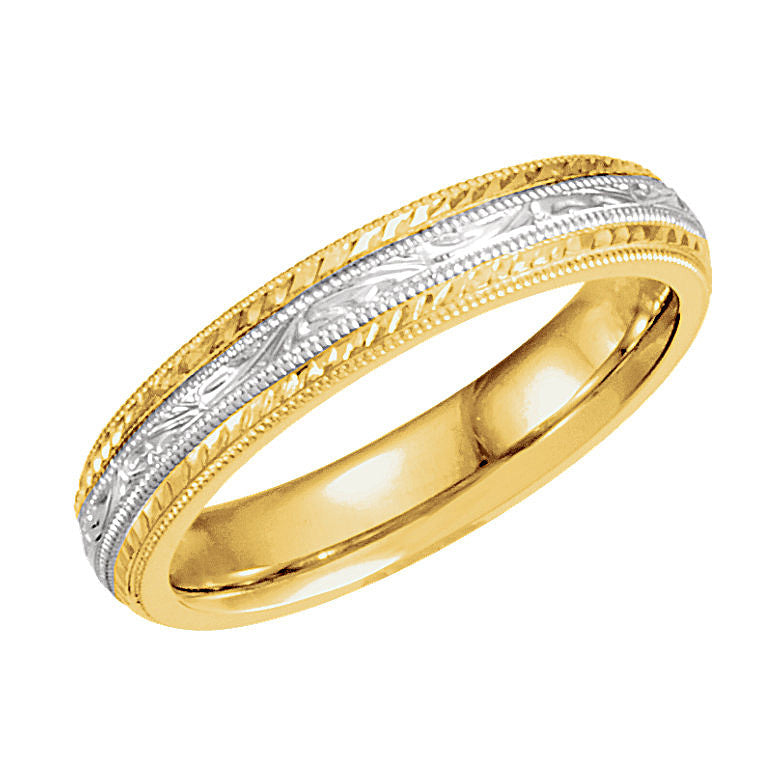 Two-Tone Gold 4mm Hand-Engraved Wedding Band