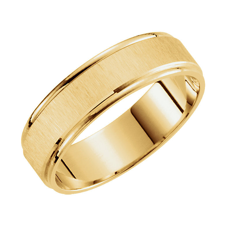 Yellow Gold 6mm Satin Finished Light Wedding Band