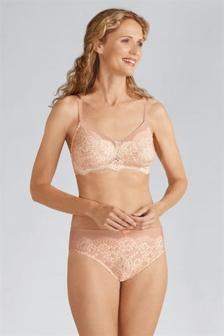 Amoena Emmy Wire Free Bra Rose Nude Off White 44131