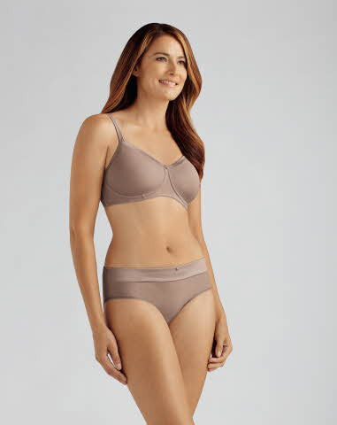 Lara Satin Non-Wired Bra Taupe