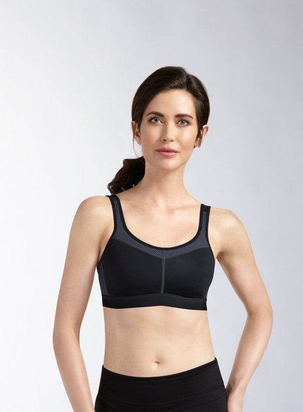 Power Wire-free Medium Support Bra - Black / Grey