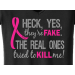 "Heck Yes, They""re Fake Ladies V-Neck T-Shirt Black/ W/Pink"