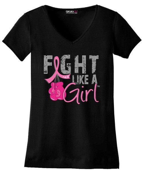 """Fight Like a Girl Knockout"" Ladies V-Neck T-Shirt - Black w/ Pink #101281"