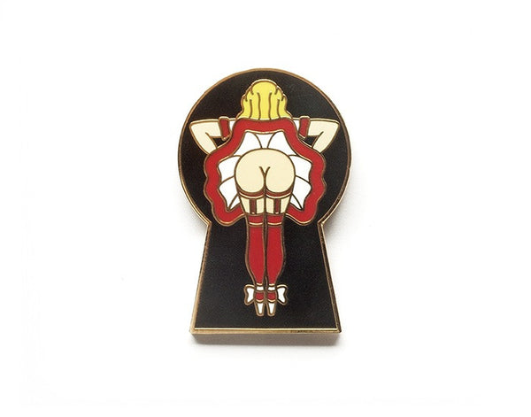 Tom Grunwald - Peep Lapel Pin - Red/Black