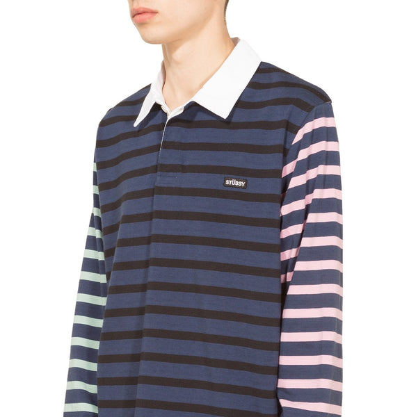 fcfbea25aa1 Stussy - Jonah Stripe L/S Rugby - Navy | Coat of Arms Brooklyn