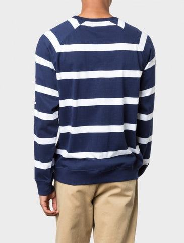 Stussy - Striped Raglan Crew - Navy