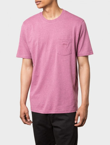 Stussy - Heather O'Dyed S/S Pocket Tee - Pink Heather
