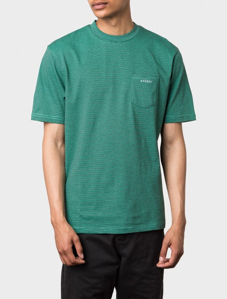 Stussy - Mini Stripe S/S Crew - Green