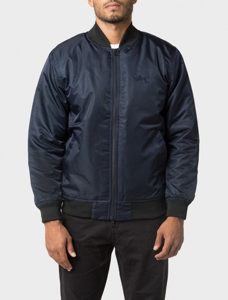Stussy - Flight Satin Bomber Jacket - Navy