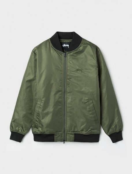 Stussy - Flight Satin Bomber Jacket - Olive