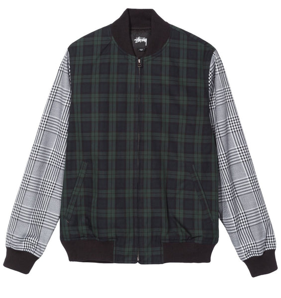 Stussy - Mixed Plaid Bomber Jacket - Navy
