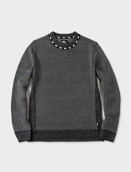 Stussy - Vertical Stripe Crew Sweater - Black