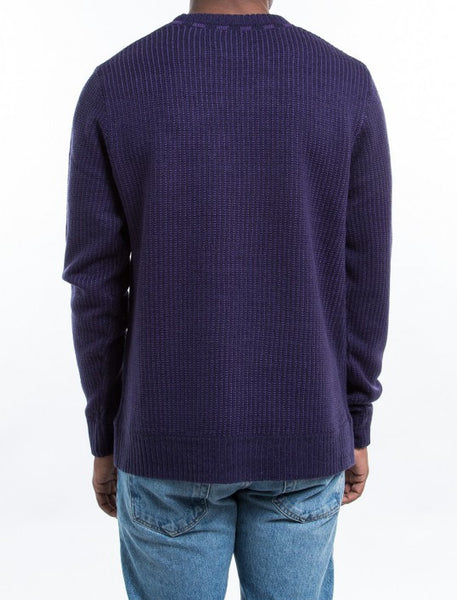 Stussy - Vertical Stripe Crew Sweater - Navy