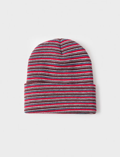 Stussy - Stock Striped Cuff Beanie - Burgundy