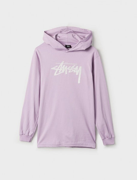 Stussy - Stock Stamp L/S Hood T-Shirt - Light Purple