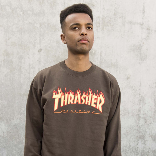 Thrasher - Flame Logo Crewneck - Brown