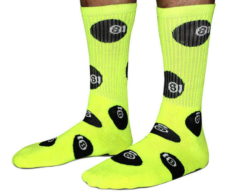 40s & Shorties - 8 Ball Socks - Neon Yellow